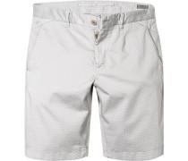 Hose Bermudashorts Modern Fit Baumwolle hellgrau gemustert