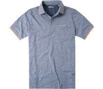 Herren Polo-Shirt Polo Baumwoll-Jersey marine-weiß gestreift blau