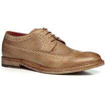 Herren Schuhe Budapester Büffelleder cuoio beige,rot