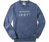 Herren Sweatshirt Baumwolle jeansblau
