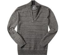 Pullover Troyer Baumwolle dunkelgrau-hellbraun meliert