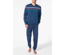Schlafanzug Pyjama Baumwolle navy-multicolor gestreift
