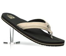 Herren Schuhe Zehensandale Leder-Textil beige beige,schwarz