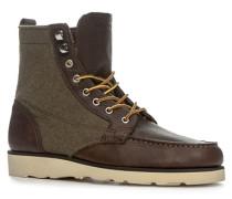 Schuhe Schnürstiefeletten Leder-Textil schokobraun