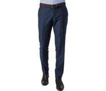 Hose Slim Fit Schurwolle Super100 dunkelblau gemustert
