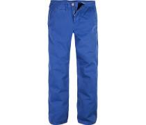 Hose Regular Straight Fit Baumwolle Azurblau
