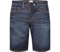 Jeansshorts, Relaxed Straight Fit, Baumwoll-Stretch, indigo