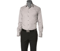 Herren Hemd Slim Fit Popeline-Stretch silber grau