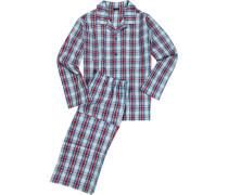 Schlafanzug Pyjama Baumwolle -rot kariert