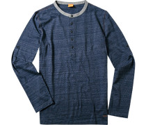 T-Shirt Longsleeve Baumwolle dunkelblau meliert