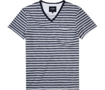 T-Shirt Baumwolle rauchblau-weiß gestreift ,weiß