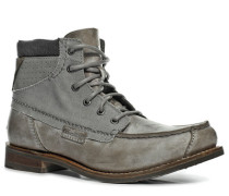 Schuhe Schnürstiefeletten Rindleder hellgrau