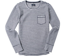 T-Shirt Longsleeve Baumwolle marine-hellgrau gestreift