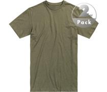 T-Shirts, Regular Fit, Baumwolle, olivgrün meliert