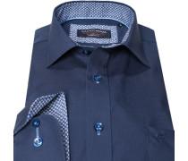 Herren Hemd Modern Fit Popeline navy blau