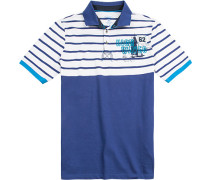 Polo-Shirt Polo Modern Fit Baumwoll-Jersey royal-weiß gestreift