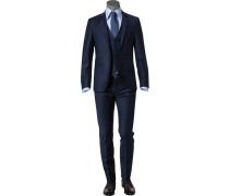 Anzug mit Weste Schurwolle nachtblau