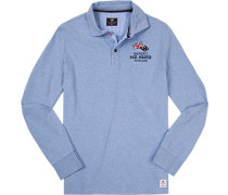 Polo-Shirt Polo Baumwolle hellblau meliert