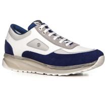 Schuhe Sneaker Leder königsblau-weiß