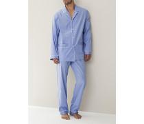 Schlafanzug Pyjama Baumwolle mercerisiert blau