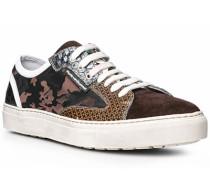 Herren Schuhe Sneakers Kalbleder-Textil braun braun,weiß