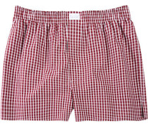 Herren Unterwäsche Boxer-Shorts Popeline bordeaux-weiß kariert rot