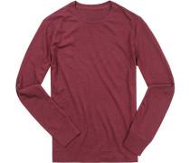T-Shirt Longsleeve Shaped Fit Baumwolle bordeaux meliert