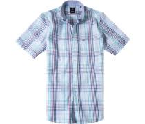 Herren Oberhemd Regular Fit Baumwolle violett-blau kariert