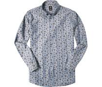 Herren Hemd Regular Fit Fischgrat jeansblau gemustert