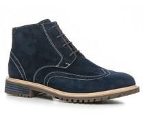 Schuhe Schnürstiefeletten Veloursleder marineblau
