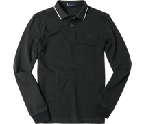 Polo-Shirt Polo Baumwoll-Piqué dunkelgrün meliert