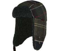Mütze, Wolle-Kunstfell, jägergrün-navy kariert