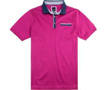 Polo-Shirt Polo Modern Fit Baumwoll-Jersey doppelt mercerisiert fuchsia