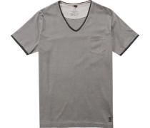 Herren T-Shirt Baumwolle grau-greige gestreift