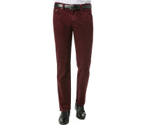 Hose Cordhose Regular Fit Baumwolle bordeaux