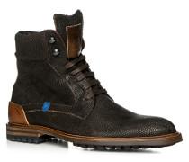 Herren Schuhe Stiefeletten Leder warm gefüttert dunkelbraun braun,beige