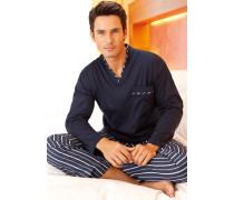 Herren Schlafanzug Pyjama Baumwolle marine-weiß blau,weiß