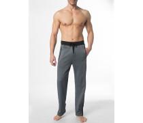 Herren Schlafanzug Pyjamahose Baumwoll-Mix schwarz meliert