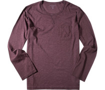 Schlafanzug Pyjama-Oberteil Baumwolle bordeaux meliert