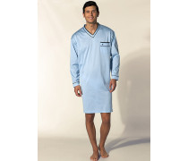 Herren Nachthemd Baumwolljersey hellblau