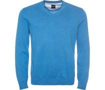 Pullover Pulli Modern Fit Baumwolle bleu meliert