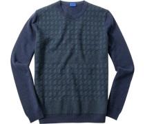 Herren Pullover Schurwolle marine-grün gemustert blau