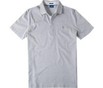 Polo-Shirt Polo Modern Fit Baumwoll-Jersey hellgrau-weiß gestreift