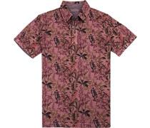 Polo-Shirt Polo Baumwoll-Piqué rosa gemustert