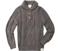 Pullover Troyer Wolle graubraun meliert