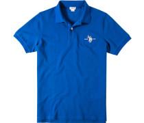 Herren Polo-Shirt Polo Baumwoll-Piqué azurblau