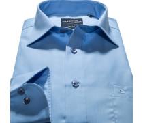 Herren Hemd Modern Fit Popeline blau