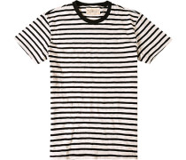 T-Shirt, Baumwolle, schwarz-off white gestreift