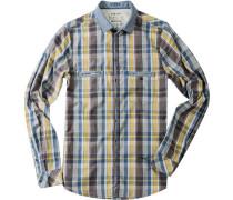 Shaped Fit Baumwolle jeansblau-gelb