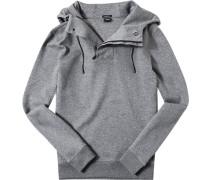 Herren Pullover Kapuzensweater Regular Fit Baumwoll-MIx grau meliert